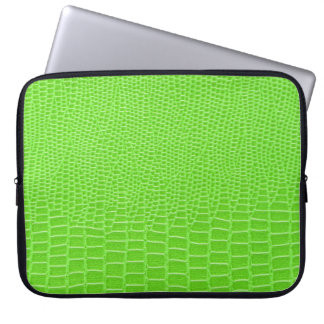Acid green leather snakeskin laptop computer sleeves