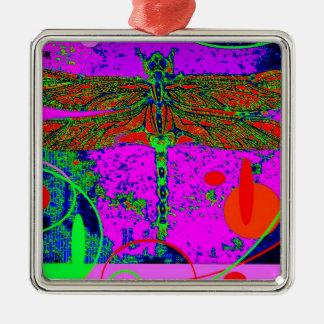 Acid Green & Purple Goth  Dragonfly by Sharles Metal Ornament
