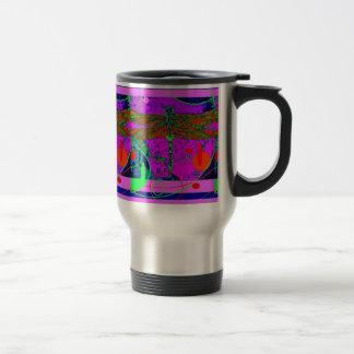 Acid Green & Purple Goth  Dragonfly by Sharles Travel Mug