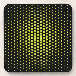 Acid Green Techno Dots Modern Black Beverage Coaster