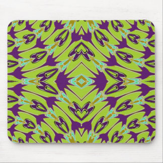 Acid Green Violet Abstract Flower Pattern Mouse Pad