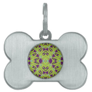 Acid Green Violet Abstract Flower Pattern Pet Tag