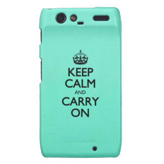Acid Keep Calm And Carry On Mint Green Droid RAZR Cases