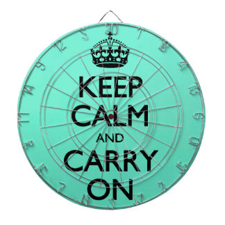 Acid Keep Calm And Carry On Mint Green Dart Board