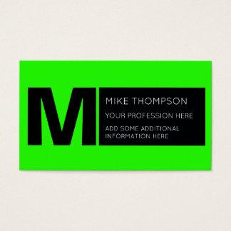 acid neon green color, modern business card