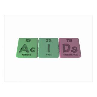 Acids-Ac-I-Ds-Actinium-Iodine-Darmstadtium Postcard