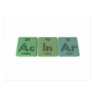 Acinar-Ac-In-Ar-Actinium-Indium-Argon Postcard
