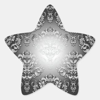 Aclaración del regalo especial floral gris y pegatina en forma de estrella