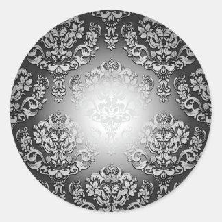 Aclaración del regalo especial floral gris y pegatina redonda