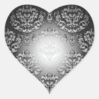 Aclaración del regalo especial floral gris y pegatina en forma de corazón