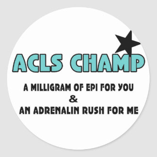 ACLS Champ Round Stickers