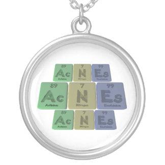 Acnes-Ac-N-Es-Actinium-Nitrogen-Einsteinium Round Pendant Necklace