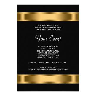 Acontecimiento corporativo del fiesta del negro invitación 12,7 x 17,8 cm