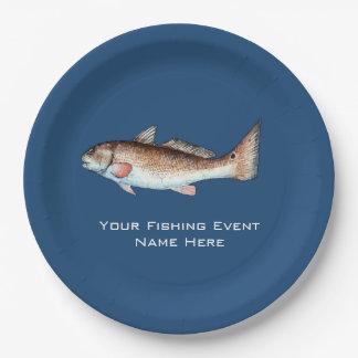Acontecimiento de la pesca de los salmones platos de papel