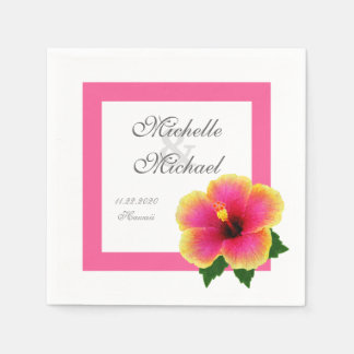 Acontecimiento del boda de la flor del hibisco servilletas de papel