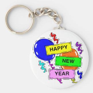 Acontecimiento del fiesta de la Feliz Año Nuevo Llavero Redondo Tipo Pin