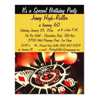 """Acontecimiento del golpe del cumpleaños del casino invitación 4.25"""" x 5.5"""""""