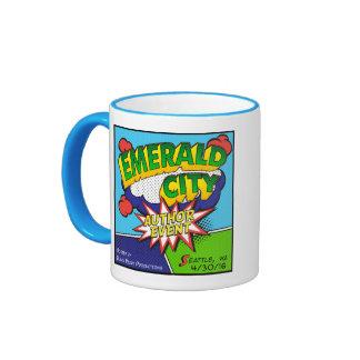 Acontecimiento esmeralda del autor de la ciudad taza de dos colores