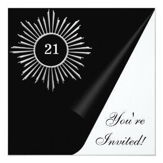 """Acontecimiento negro y 21ro del cumpleaños del invitación 5.25"""" x 5.25"""""""