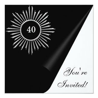 """Acontecimiento negro y 40.o del cumpleaños del invitación 5.25"""" x 5.25"""""""