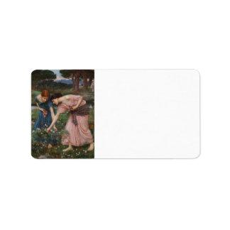 Acopio de capullos de rosa de John William Waterho Etiqueta De Dirección