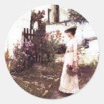 Acopio de las flores del verano por el Waterhouse Etiqueta Redonda