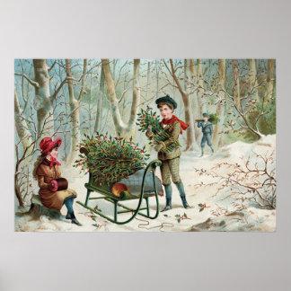 Acopio del acebo c.1890 del navidad posters