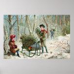 Acopio del acebo c.1890 del navidad póster