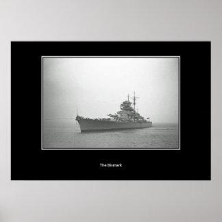 Acorazado Bismarck, poster del vintage de Schlacht