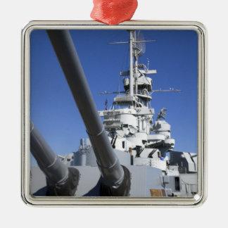 Acorazado de USS Alabama en el monumento del Adorno Navideño Cuadrado De Metal