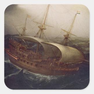 Acorazado holandés en una tormenta pegatina cuadrada
