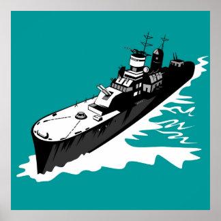 acorazado naval del buque de guerra de la marina d impresiones