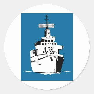 acorazado naval del buque de guerra de la marina pegatina redonda
