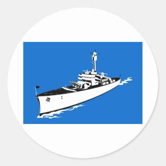 acorazado naval del buque de guerra de la marina etiqueta redonda