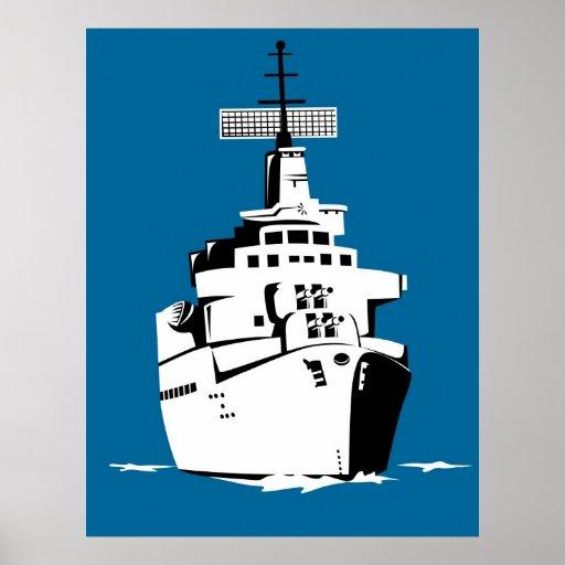 acorazado naval del buque de guerra de la marina póster