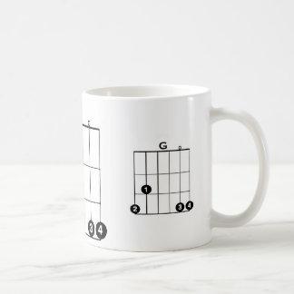 ACORDE de la GUITARRA de G taza blanca clásica de