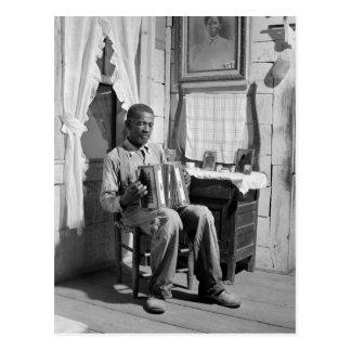 Acordeón afroamericano Player, 1941 Tarjeta Postal