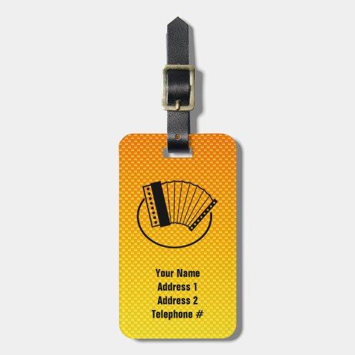 Acordeón amarillo-naranja etiquetas maleta
