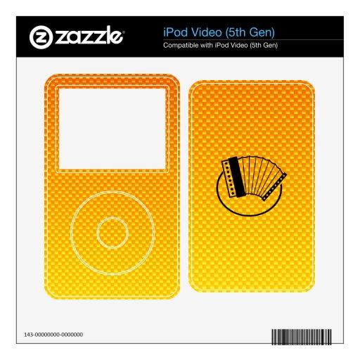 Acordeón amarillo-naranja iPod video calcomanía