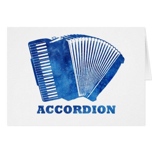 Acordeón azul tarjeta de felicitación