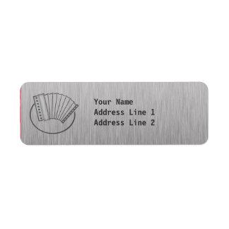 Acordeón cepillado de la metal-mirada etiqueta de remite