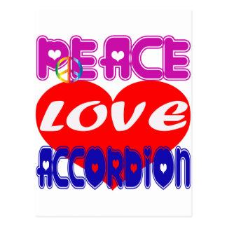 Acordeón del amor de la paz postal