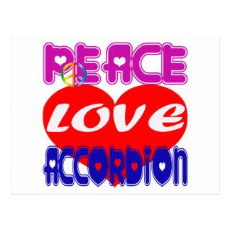 Acordeón del amor de la paz postales