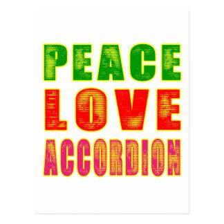 Acordeón del amor de la paz tarjetas postales