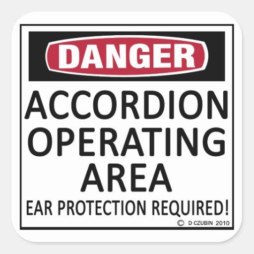 Acordeón del área de funcionamiento calcomanías cuadradass personalizadas