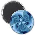 Acordeón del azul del fractal imanes de nevera