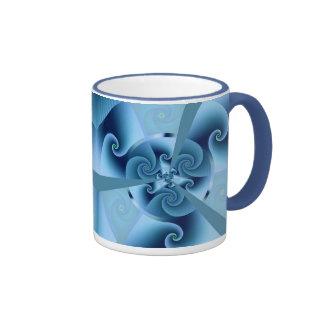 Acordeón del azul del fractal taza
