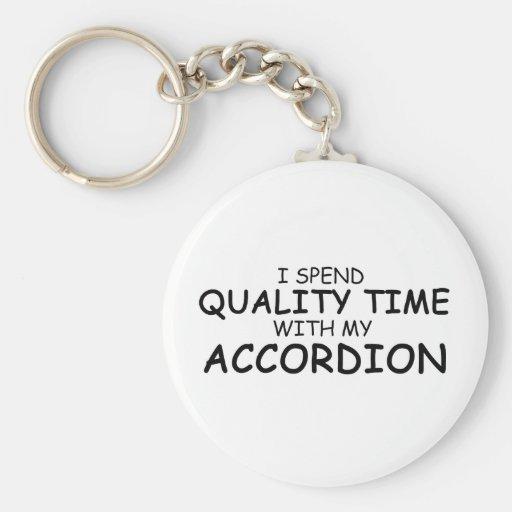 Acordeón del tiempo de la calidad llavero redondo tipo pin