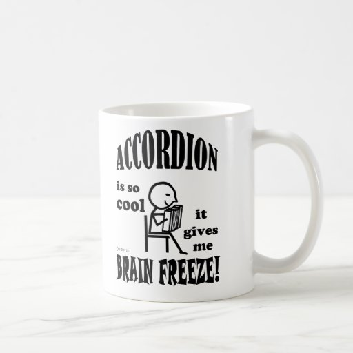 Acordeón, helada del cerebro taza básica blanca