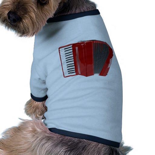 Acordeón rojo camiseta con mangas para perro